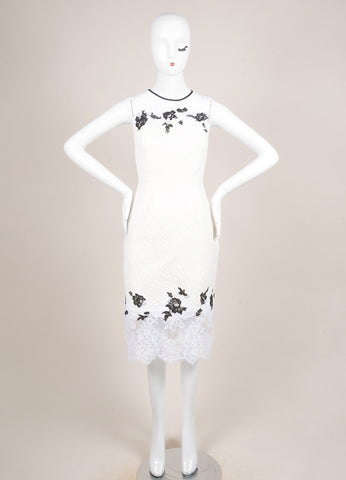 "Erdem New With Tags White and Black Floral Lace Matelasse Sleeveless ""Kent"" Dress Frontview"