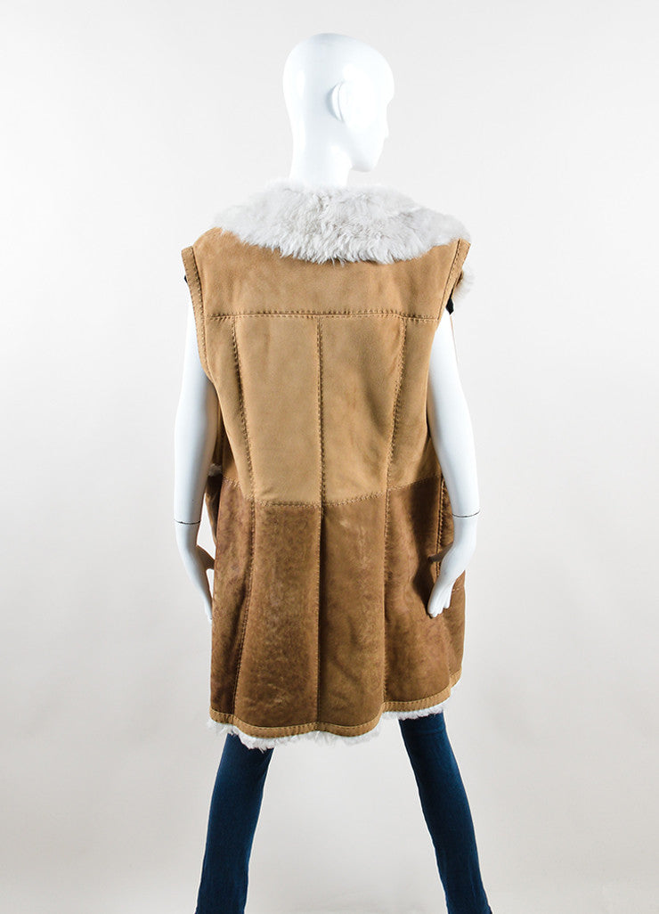 Escada Sport Brown and Cream Lambskin Shearling Long Vest Backview