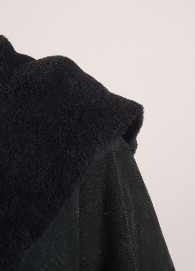 Eskandar Black Suede Shearling Hooded Oversized Coat Detail