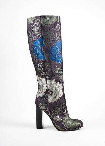 Etro Brown, Green, and Blue Brocade Tall Knee High Boots Sideview