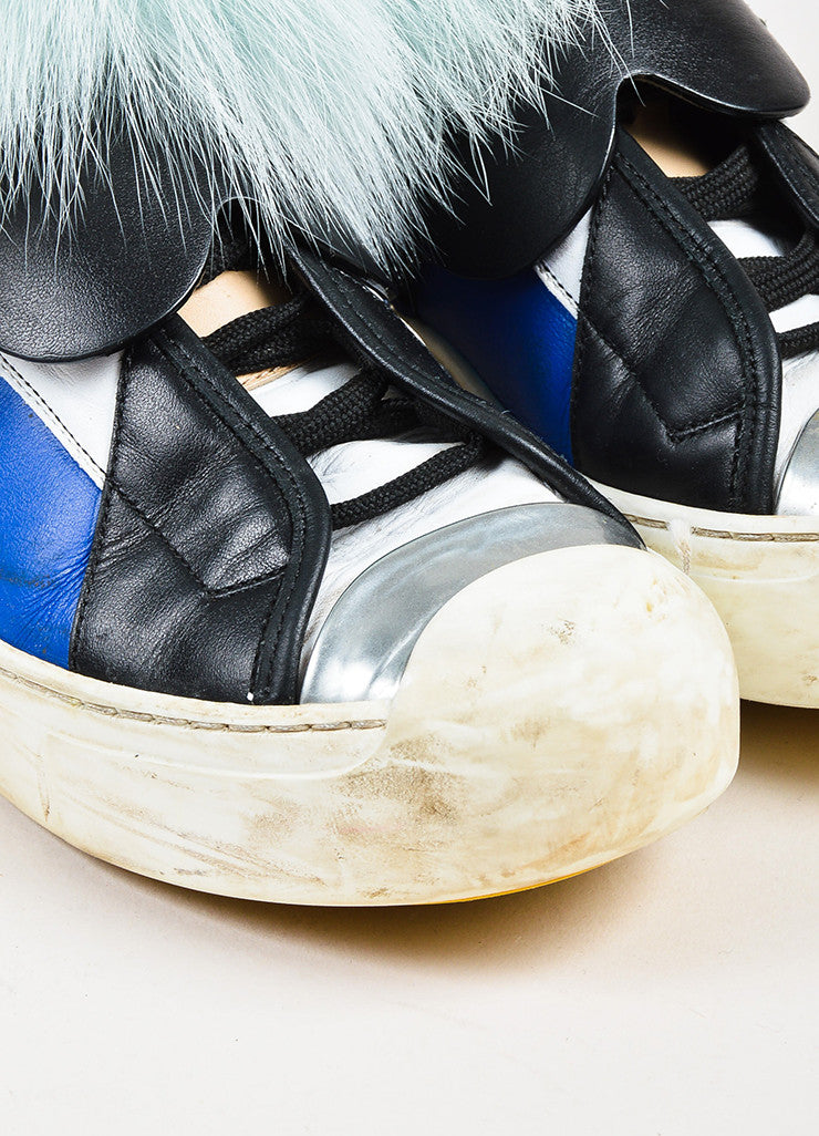 "Fendi Multicolored Leather Fur ""Karlito"" Monster High Top Sneakers Detail"