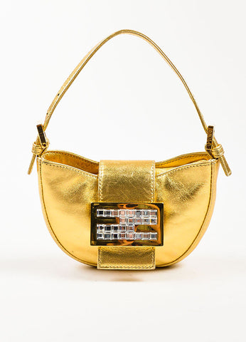 "Fendi Gold Metallic Leather Clear Square Crystal ""Mini Croissant"" Bag Frontview"