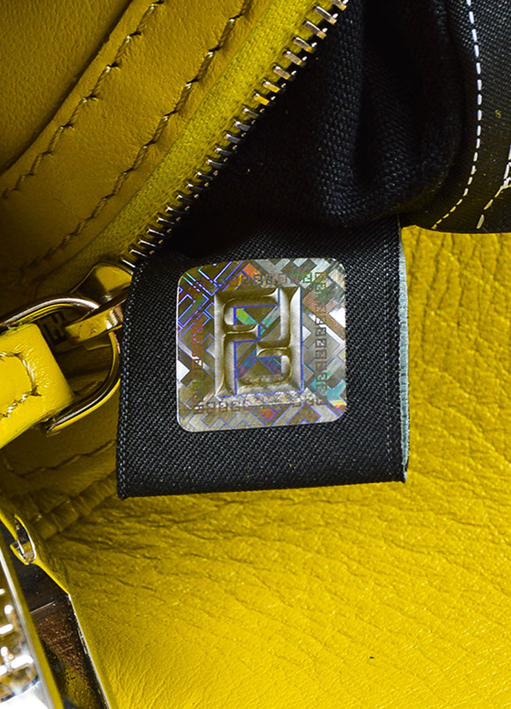 "Fendi Indigo and Yellow Denim Fox Fur Trim ""Be Baguette"" Shoulder Bag Hologram"