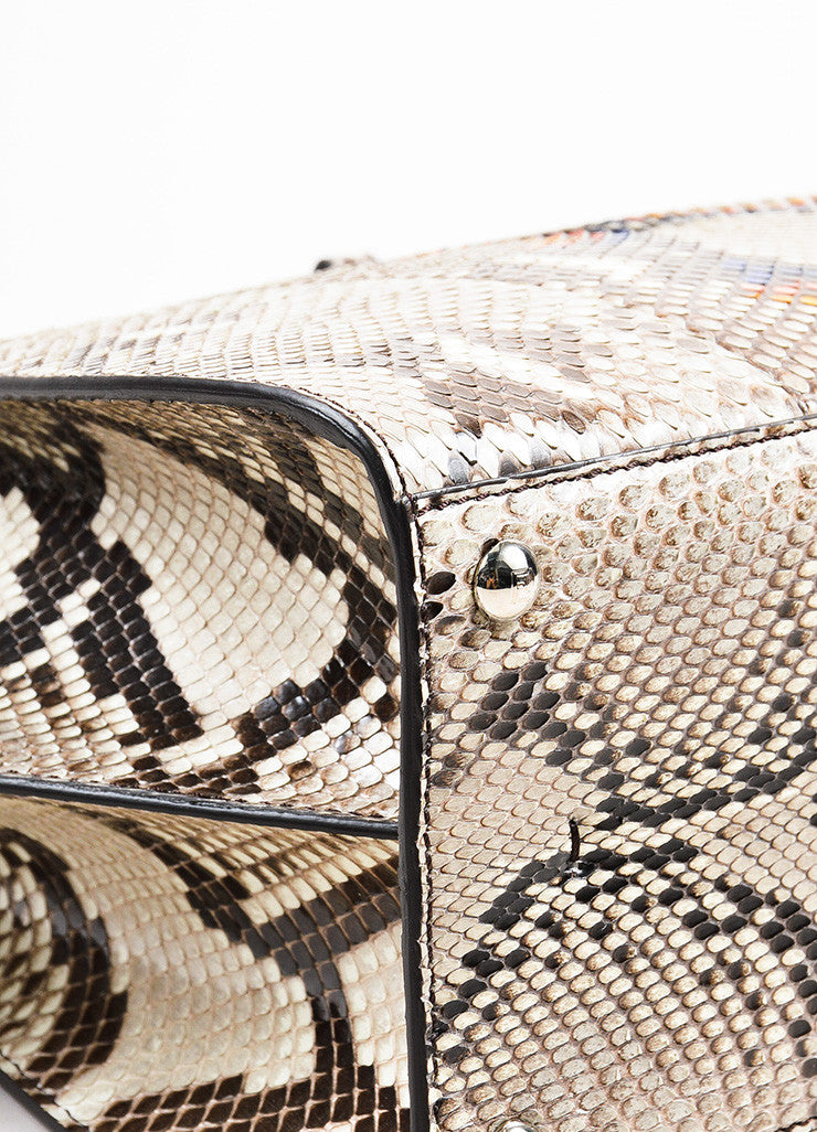 "Fendi Black, White, and Multicolor Python ""3Jour Mini"" Satchel Bag Detail"