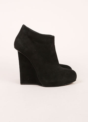 Giuseppe Zanotti Black Suede Silver Wedge Booties Sideview