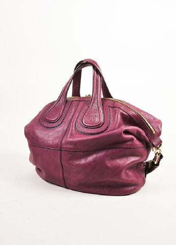 "Givenchy Magenta Leather Gold Toned Zip ""Medium Nightingale"" Bag Sideview"