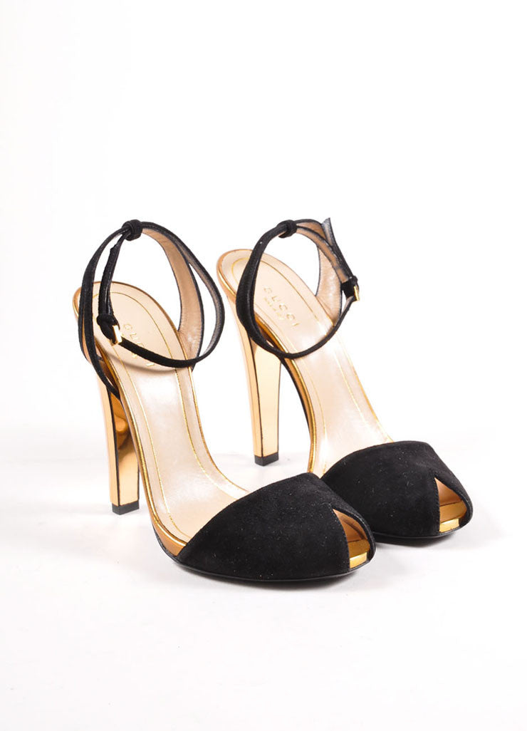 "Gucci Black and Gold Toned Suede Metallic Mirrored ""Delphine"" Sandals Frontview"