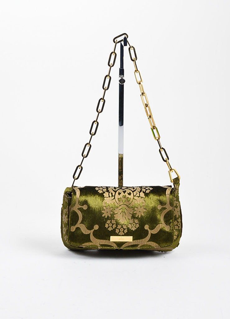 Green and Taupe Gucci Velvet Brocade Patterned Chain Link Strap Evening Bag Frontview
