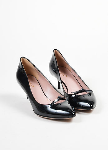 "Black Gucci Patent Leather Bow Pointed Toe ""Beverly"" Heel Pumps Front"