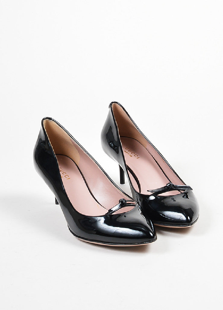 "Black Gucci Patent Leather Bow Pointed Toe ""Beverly"" Heel Pumps Frontview"
