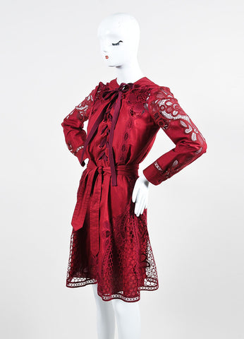 Cranberry Red Gucci Cotton Crocheted Lace Up Long Sleeve Dress Sideview