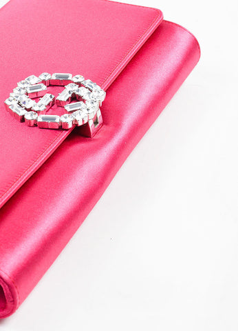 "Gucci Pink Satin Jewel Closure ""Broadway"" Evening Clutch Bag Bottom View"