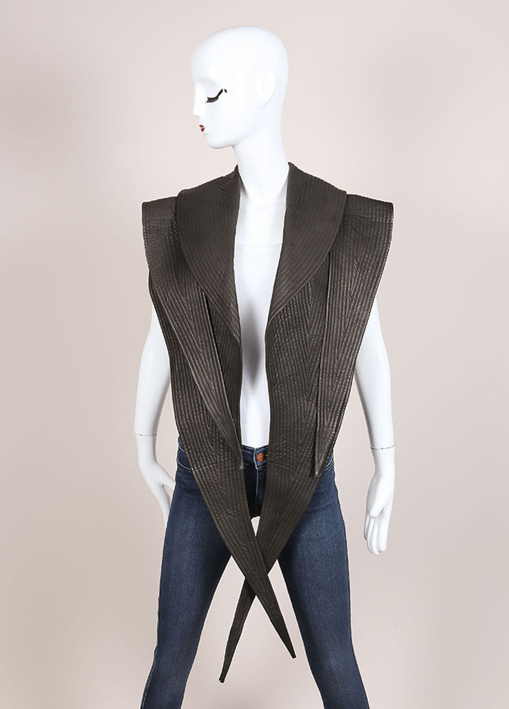 Haider Ackermann Grey Quilted Seam Pointed Hem Leather Vest Frontview