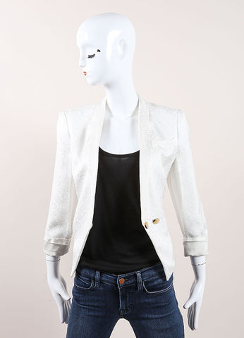 Helmut Lang White Woven Brocade Tailored Cropped Blazer Frontview