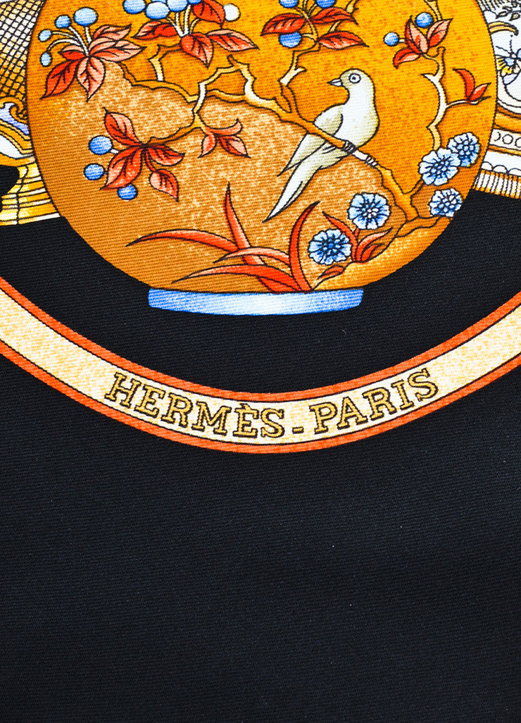 "Hermes Black, Gold, and Multicolor Silk ""Qu' Importe le Flacon"" Vase And Bottle Scarf Brand"