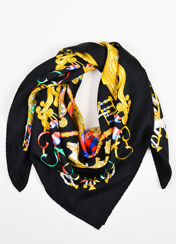 "Hermes Black and Multicolor Silk ""Luna Park"" Print 90cm Square Scarf Frontview"