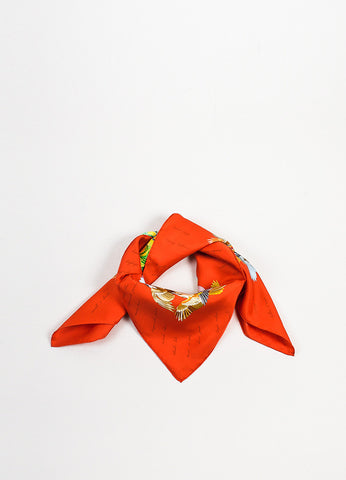 "Hermes Orange and Multicolor Silk ""L'Intrus"" Bird Print Square Scarf Frontview"