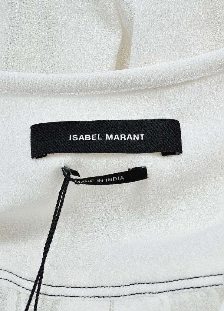 White Isabel Marant Pleated Front Long Sleeve Blouse Brand