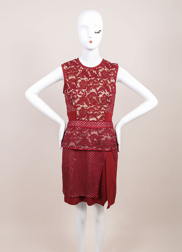 J. Mendel New With Tags Red Jasper Mixed Lace and Textured Crepe Sheath Dress Frontview