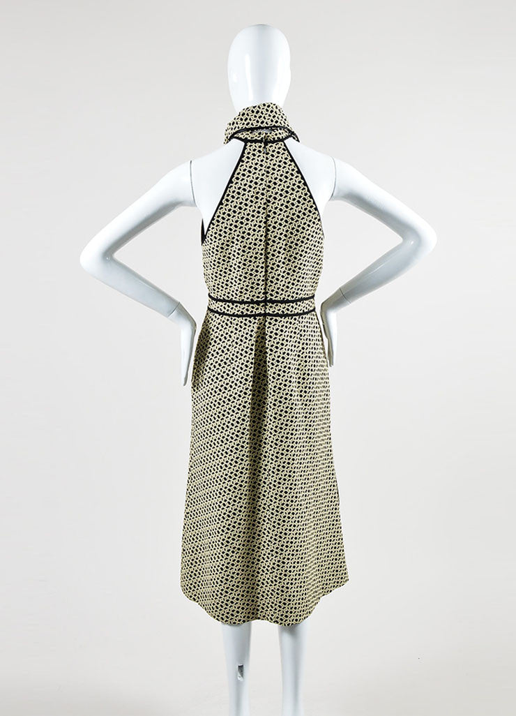 Cream and Black J. Mendel Knot Jacquard Halter Dress with Scarf Backview