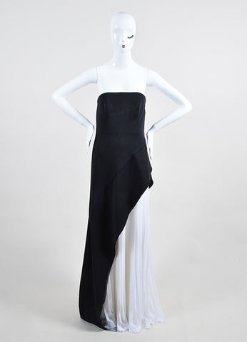 Black and White J. Mendel Silk Chiffon Layered Gown Front