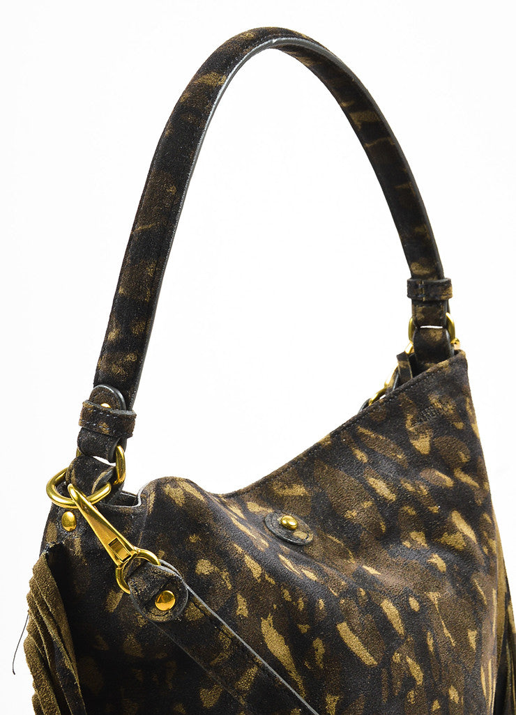 "Jerome Dreyfuss ""Kaki"" Green Suede Leopard Spotted Fringed ""Mario"" Bag Detail 2"