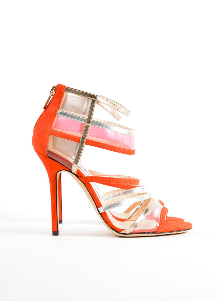 "Jimmy Choo Red and Silver Suede Leather Strappy ""Maitai"" Sandals Sideview"