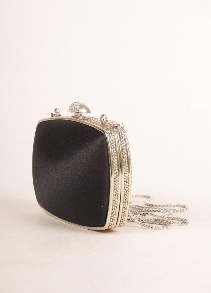 Judith Leiber  Black Satin Rhinestone Embellished Clutch Bag Sideview