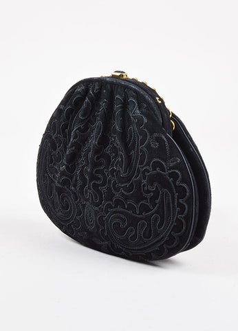 Judith Leiber Black Embroidered Suede Enamel Trim Chain Strap Bag Back
