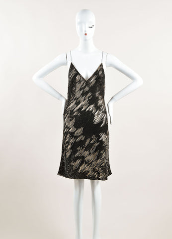 Kaufmanfranco Grey and Beige Sequined Shredded Spaghetti Strap Dress Frontview