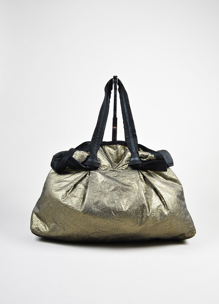 "Gold and Black Textured Metallic Leather Strap Lanvin ""Large Cabas"" Tote Shopper Bag Frontview"