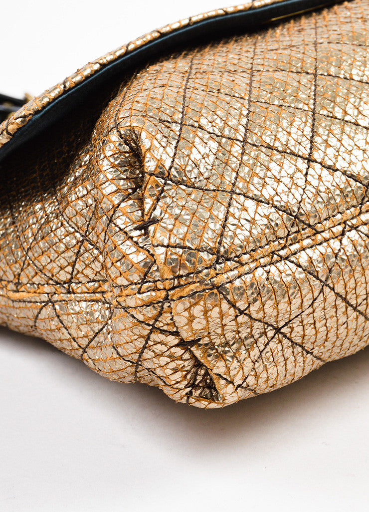 "Lanvin Gold and Black Embossed Chain Flap ""Happy Sac Partage"" Shoulder Bag Detail"