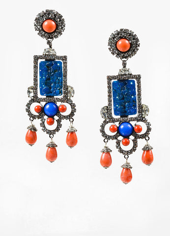Blue and Orange Lawrence Vrba Rhinestone Carved Stone Clip On Statement Earrings Frontview