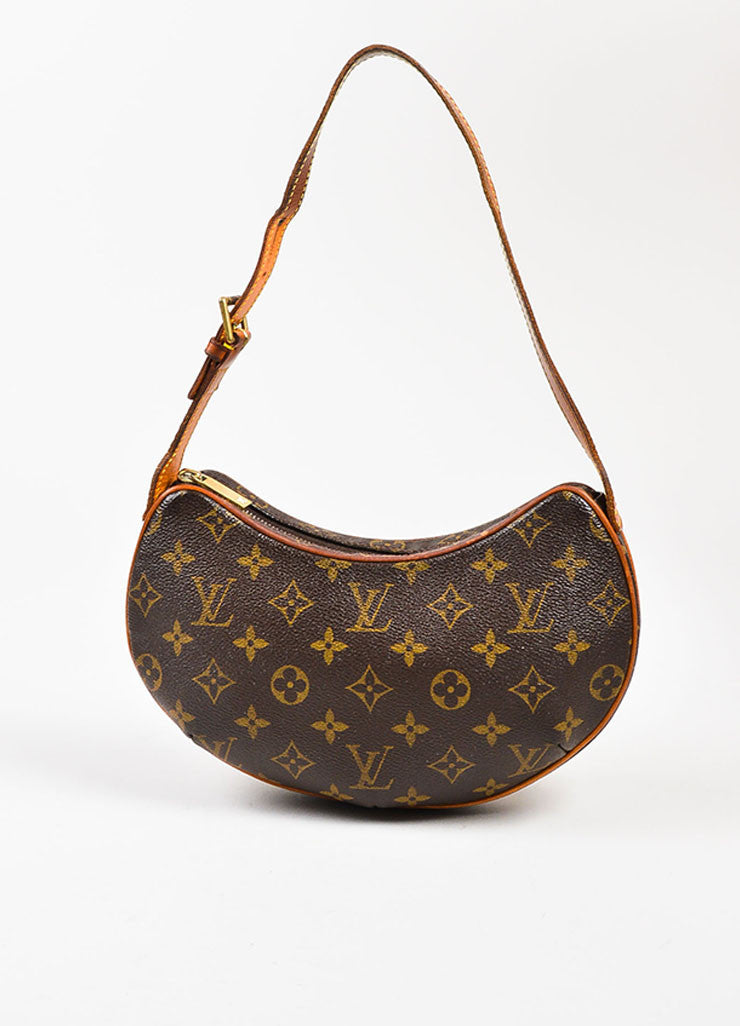 "Brown and Tan Louis Vuitton Coated Canvas Monogram ""Croissant PM' Shoulder Bag Frontview"