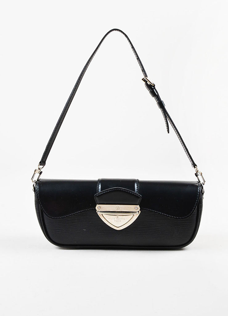 "Louis Vuitton Black Epi Leather Removable Buckle Strap ""Montaigne Pochette"" Bag Frontview"