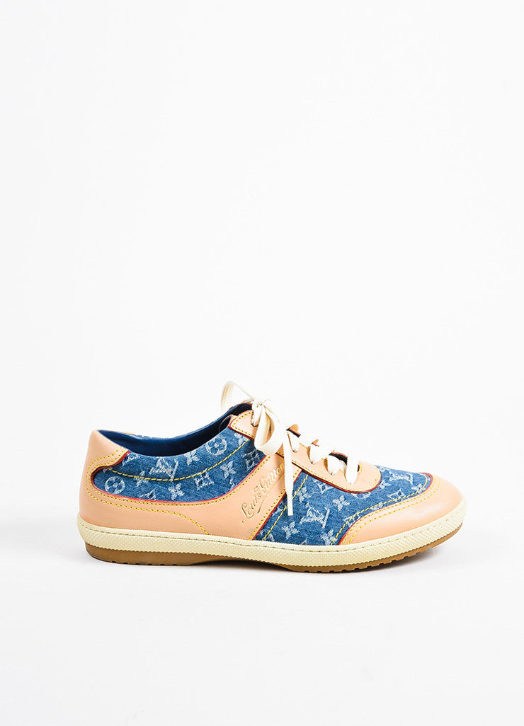 Louis Vuitton Blue Denim and Tan Leather Monogram Logo Lace Up Sneakers Sideview