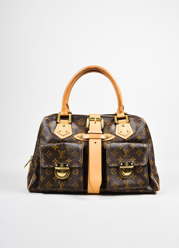 "Brown and Tan Louis Vuitton Canvas and Leather LV Monogram ""Manhattan GM"" Statement Bag Frontview"