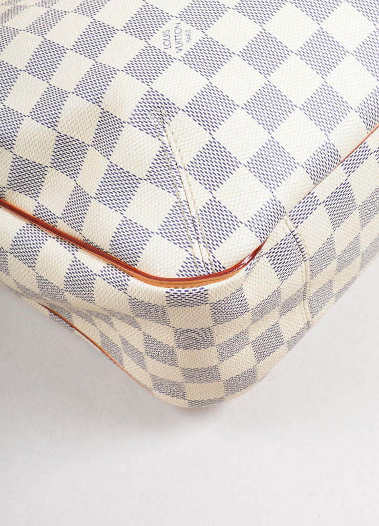 "Louis Vuitton Cream and Blue Coated Canvas Checkered ""Damier Azur Soffi""  Bag Detail"