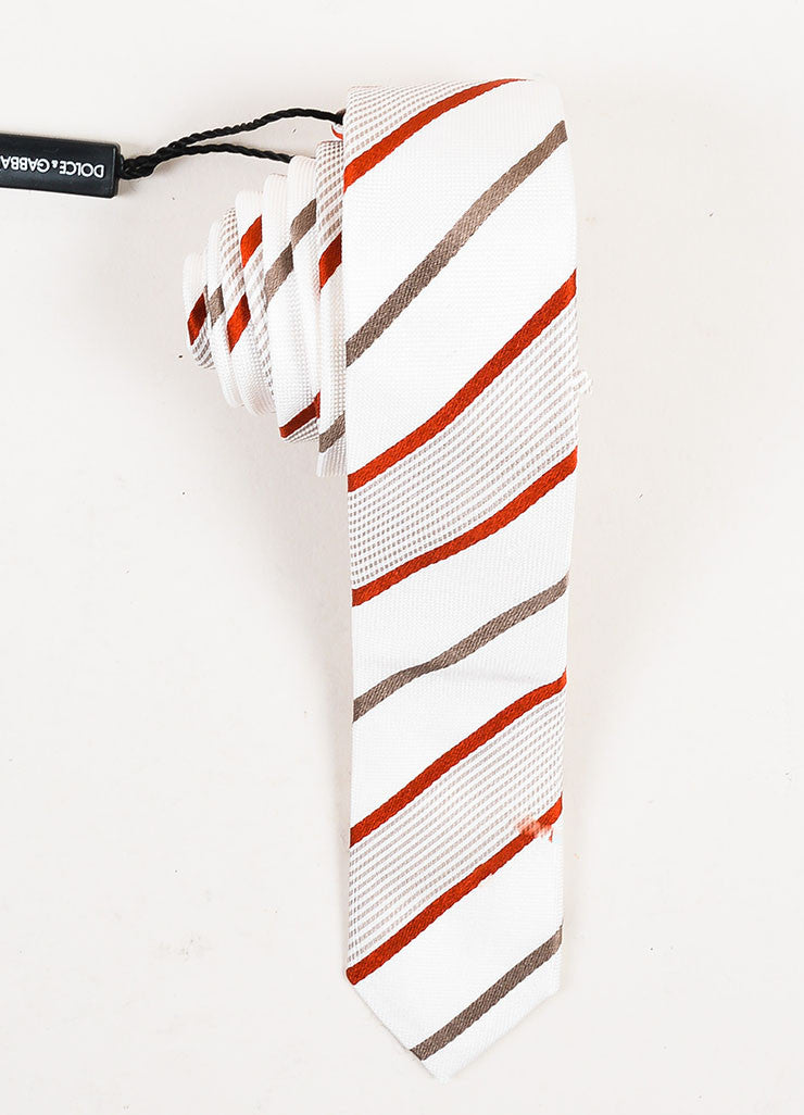Men's Dolce & Gabbana Cream Grey Red Silk Striped Skinny Tie Front