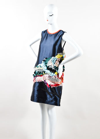 "Navy MSGM Silk and Sequin Bird Sleeveless ""Technical Duchesse"" Shift Dress Sideview"
