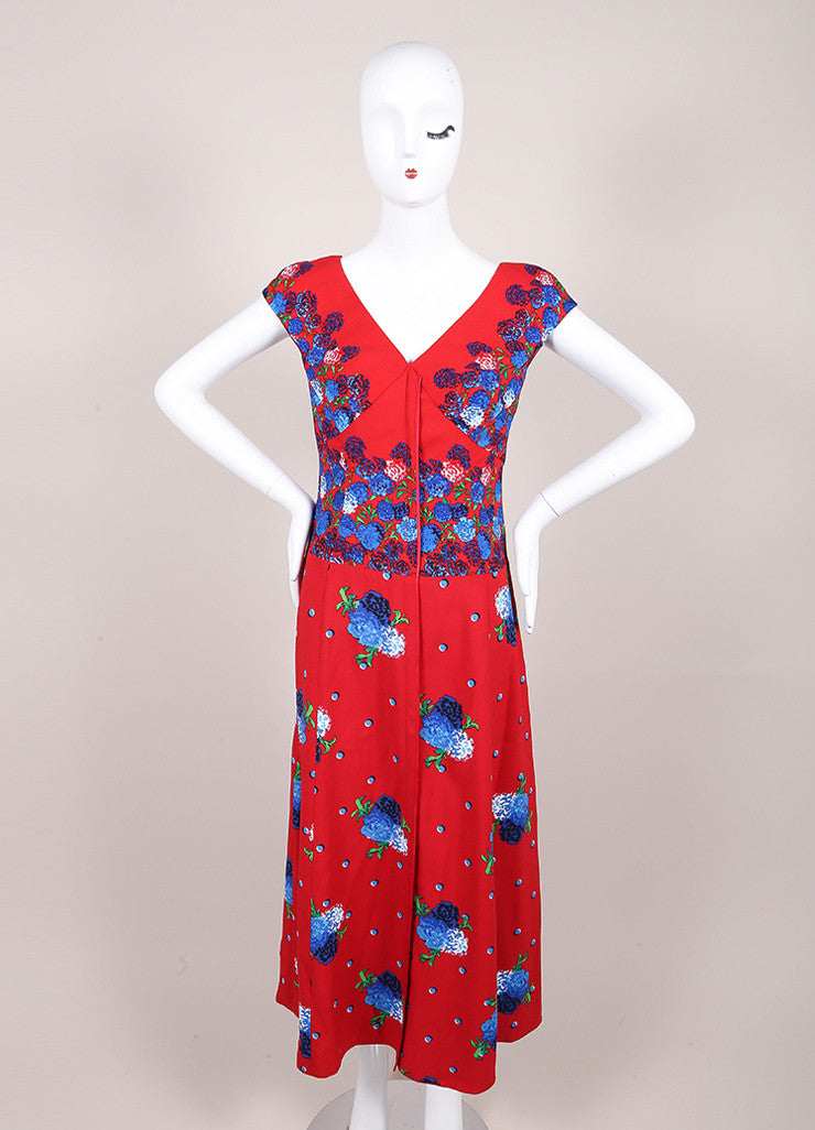 Marc Jacobs New With Tags Red and Blue Floral Print Cap Sleeve Open Back Dress Frontview
