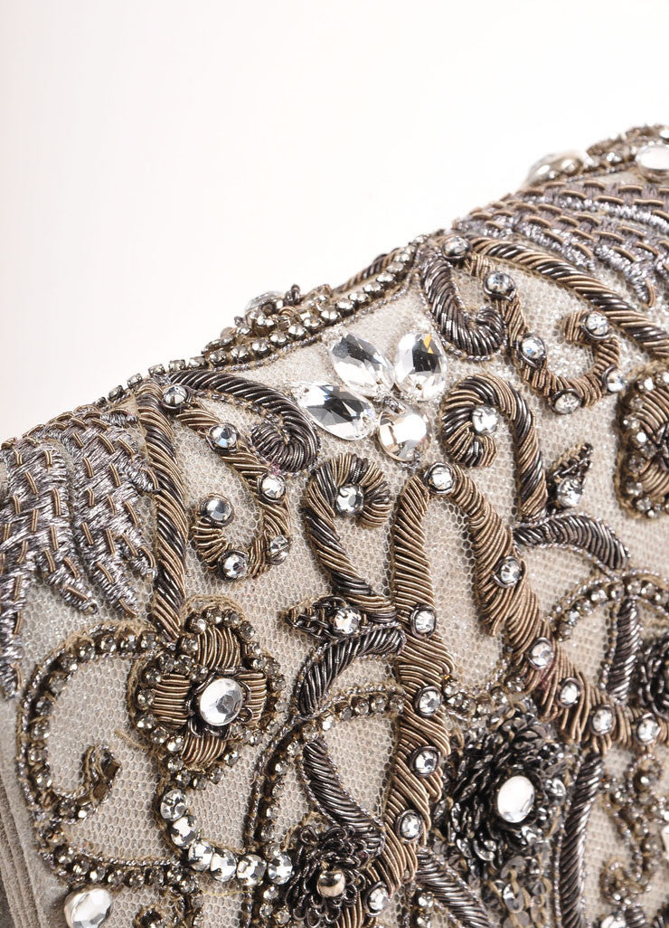 Marchesa Grey Suede Leather Metallic Embroidered Jeweled Clutch Bag Detail 2