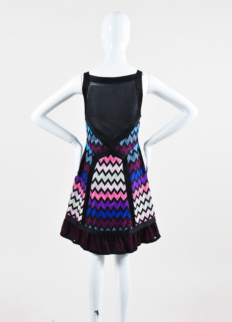 Multicolor Missoni Knit Zig Zag Pattern Mesh Back Sleeveless Dress Backview