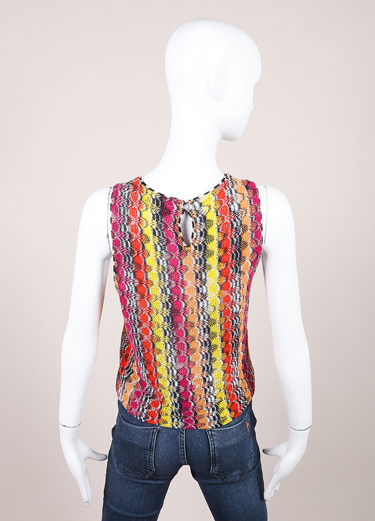 Missoni Multicolor Linen Blend Knit Sleeveless Top Backview