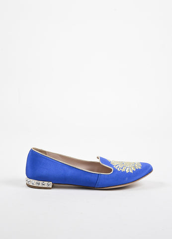 Miu Miu Royal Blue and Gold Embroidered Rhinestone Heel Loafer Slippers Sideview