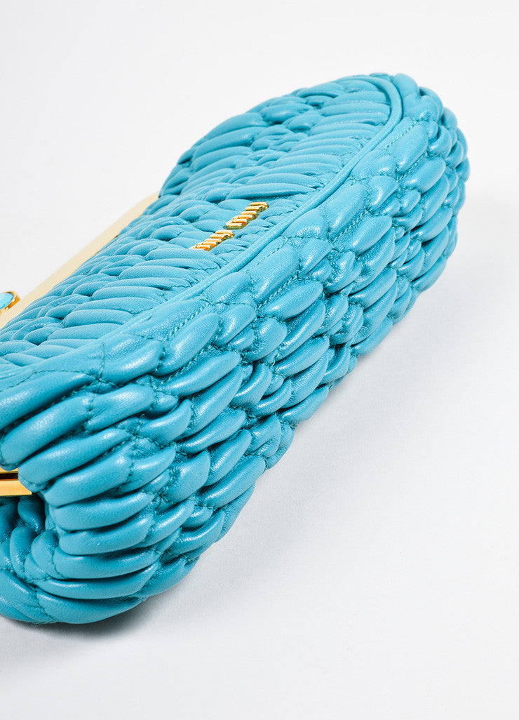 Miu Miu Teal Blue Matelasse Leather Textured Quilted Rhinestone Clutch Bag Bottom View