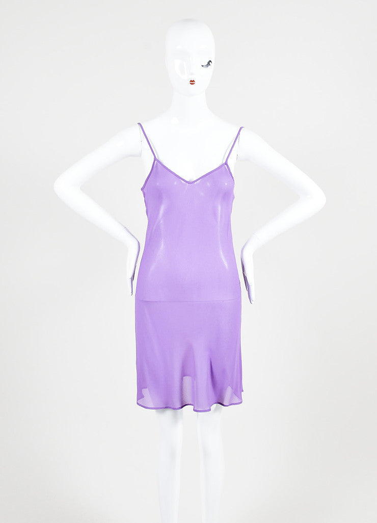 Moschino Cheap and Chic Purple Silk Reptile Print Ruffle Dress Slip