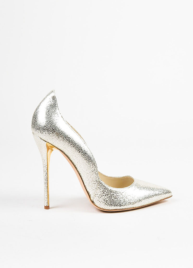 "Oscar de la Renta Metallic Silver Cracked Leather ""Sabrina"" Pumps Sideview"
