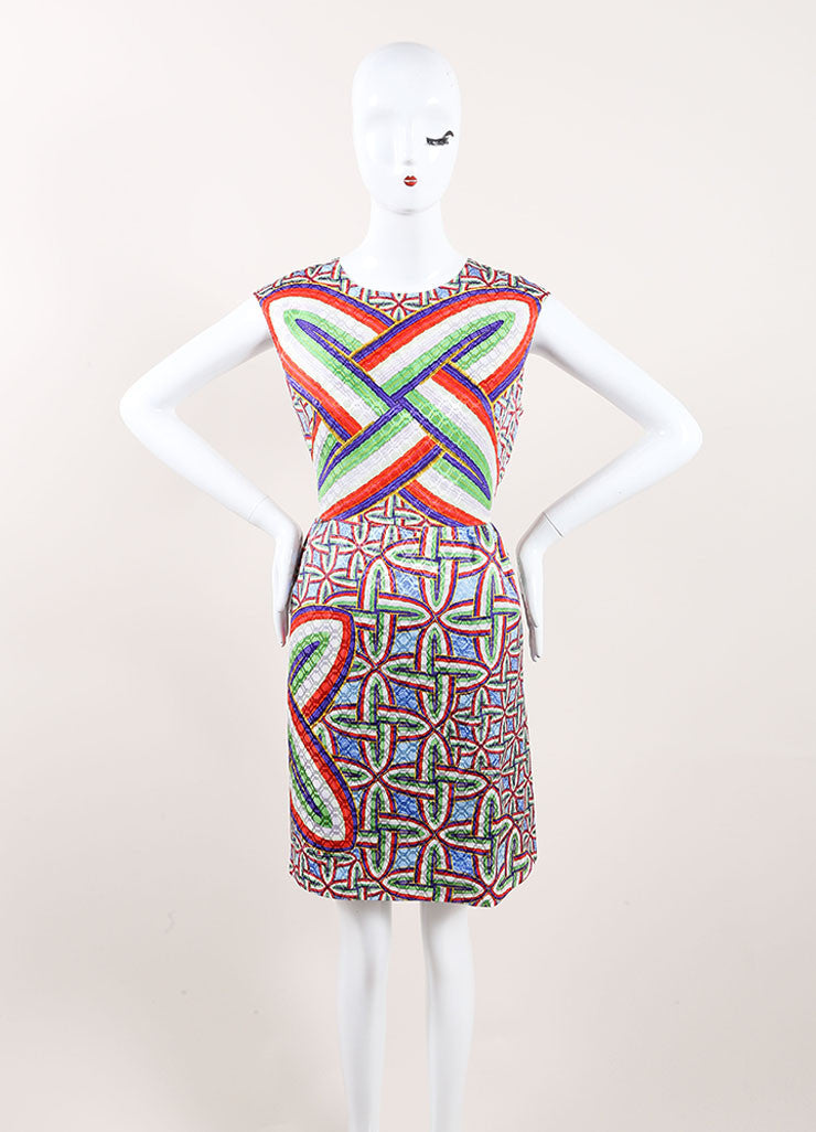 "Peter Pilotto New With Tags Multicolor Silk Printed Sleeveless ""Gia"" Dress Frontview"