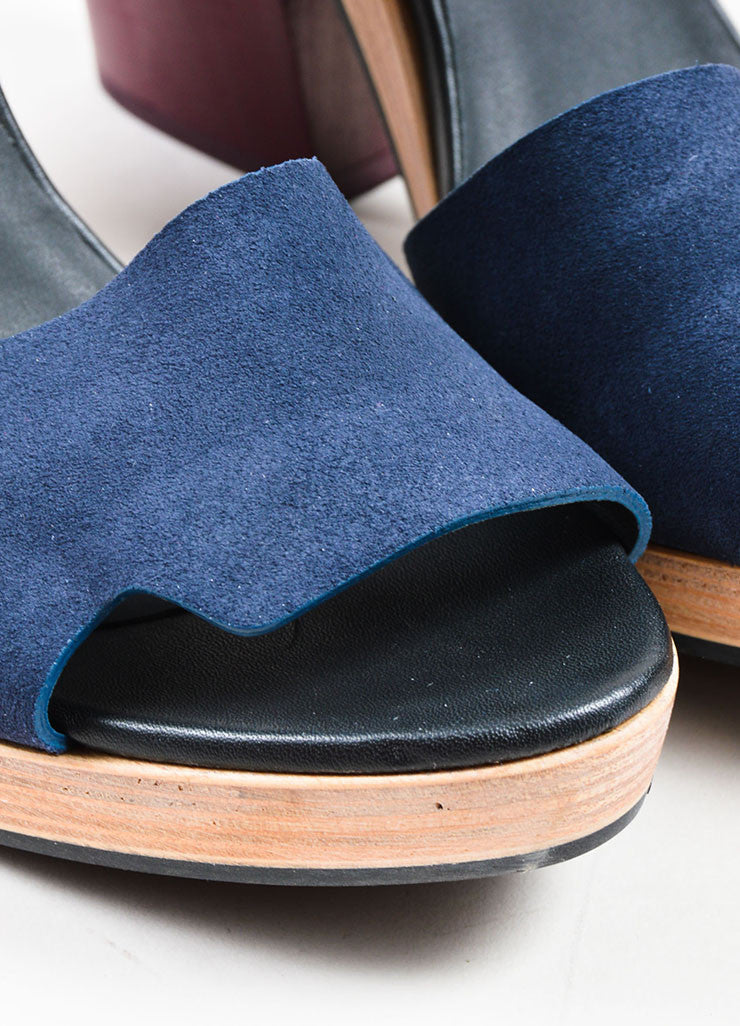 Navy Blue and Maroon Pierre Hardy Suede Leather Wood Sandals Detail